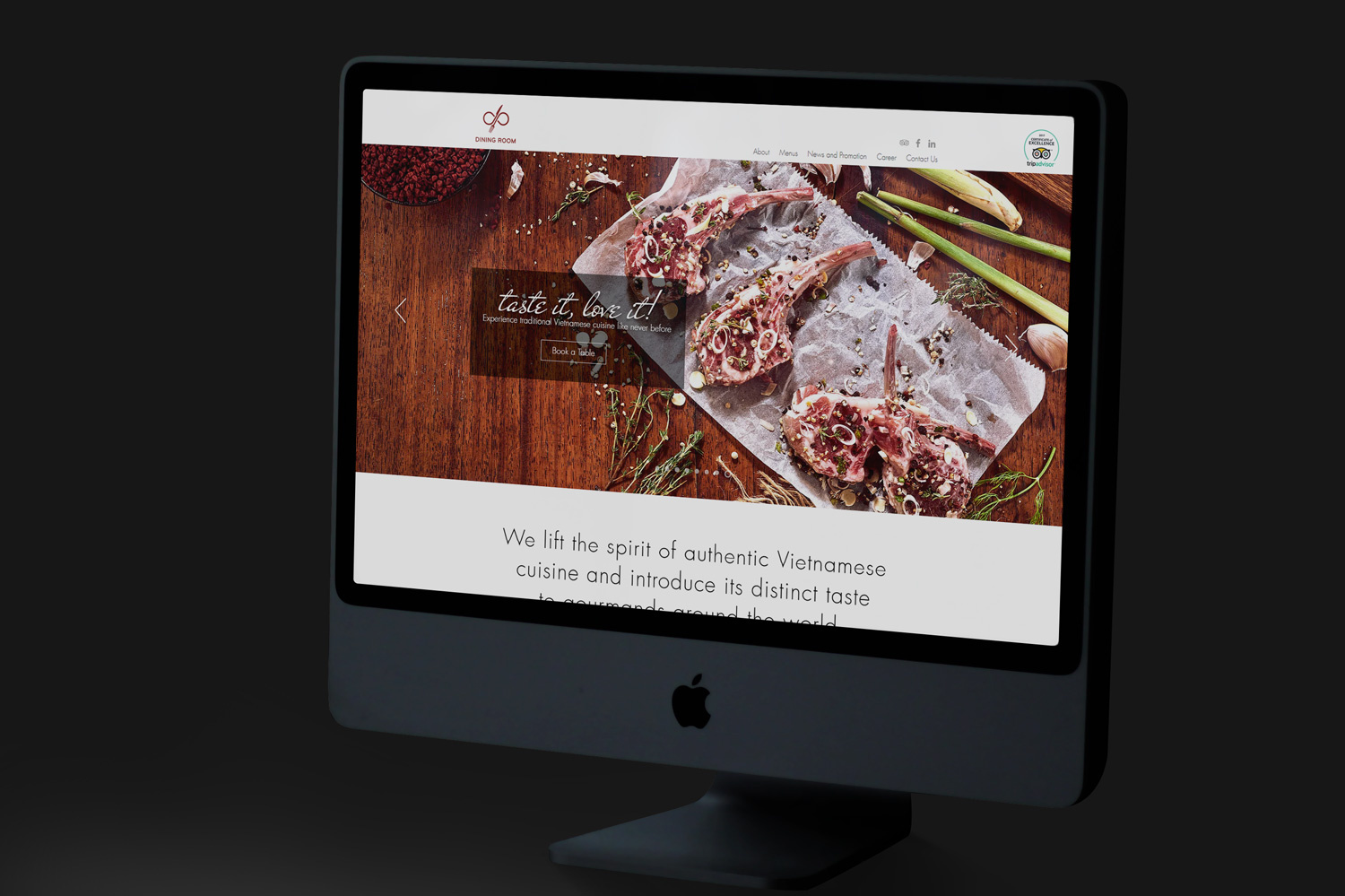 Dining Room Restaurant website interface