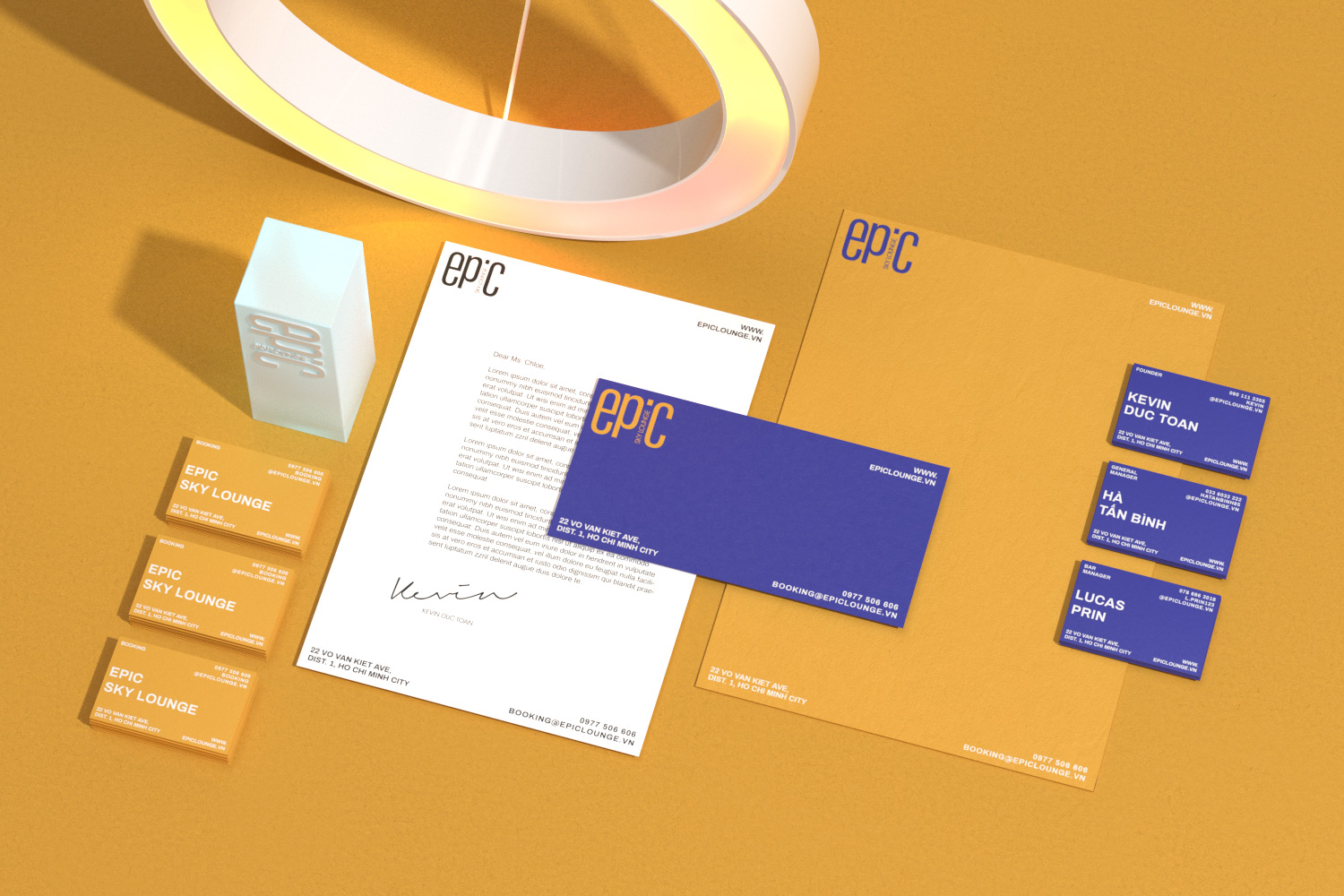 Epic Sky Lounge stationery set on yellow background