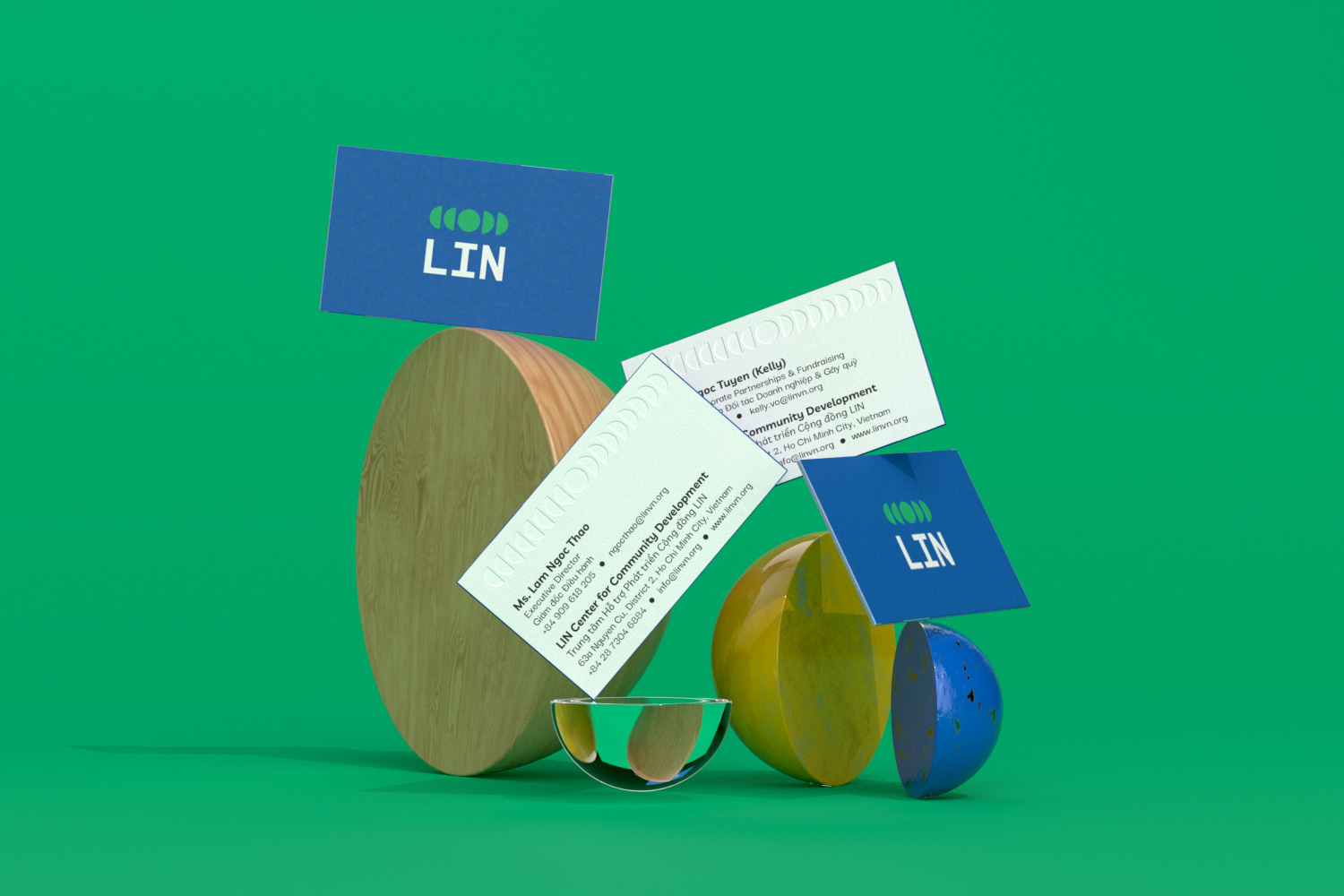 LIN business cards with props